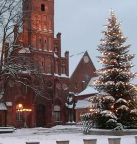 Das Altstädtische Rathaus mit der Weihnachtltanne im Schnee