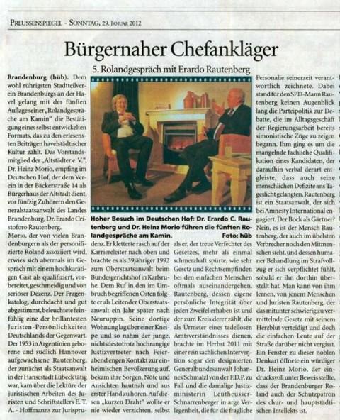 Presseausschitt Preußenspiegel 29.01.2012