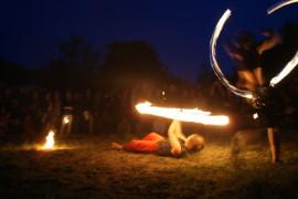 Feuerkunst im Slawendorf während des Rolandspectaculums