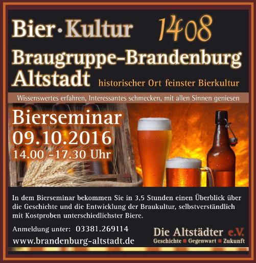 Anzeige zum Bierseminar am 09.10.2016 in Brandenburg an der Havel -Altstadt-